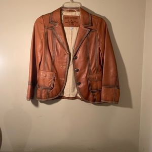 Leather true religion jacket